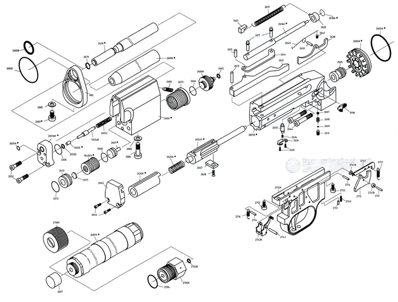 Схема разборки пневматической винтовки фото 740